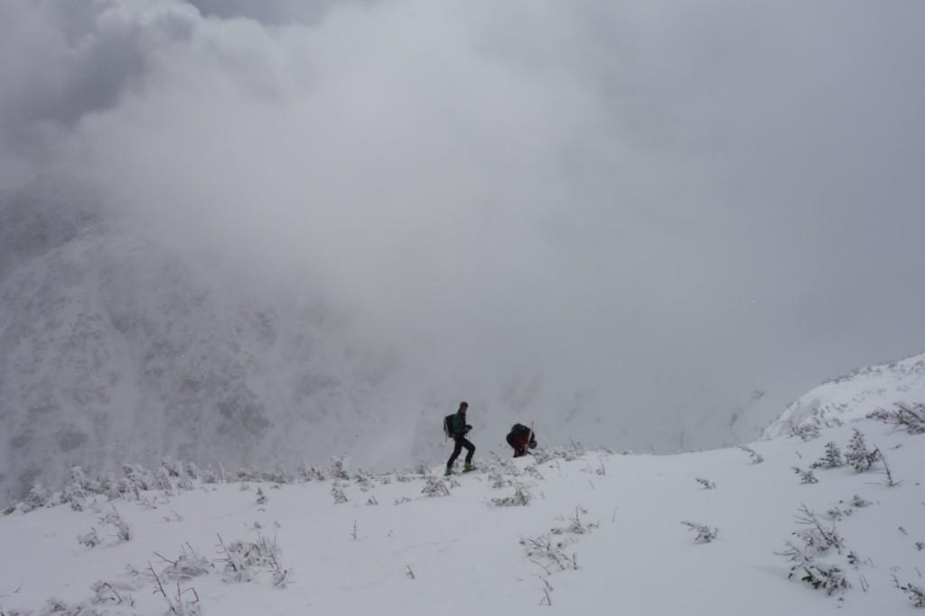 Skiers ready to ski down Tuckerman's Ravine near Alpine Garden