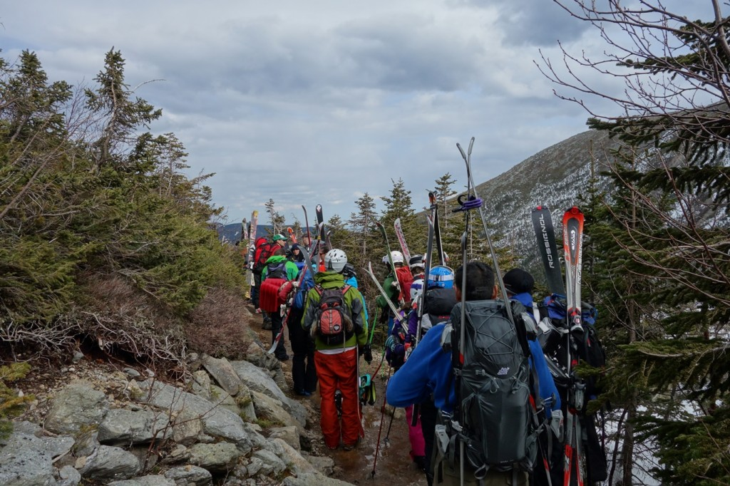 Foot Traffic Jam to Hermit Hut from Tuckerman's Ravine
