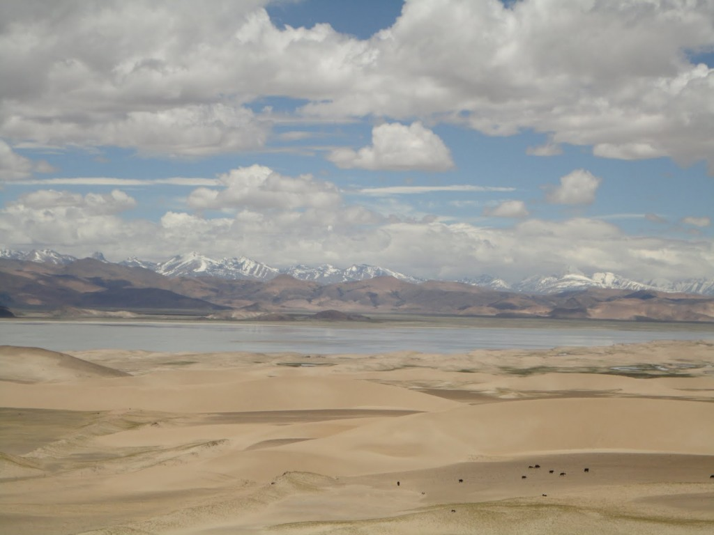 Sand Dunes with Brahmaputra river and Himalayan Range