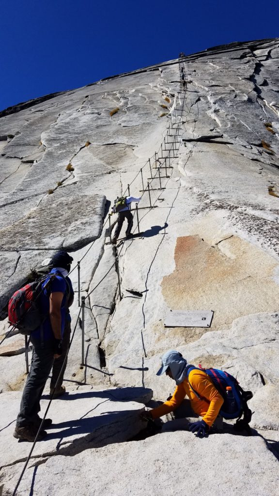 Finally, steel cables up to half dome