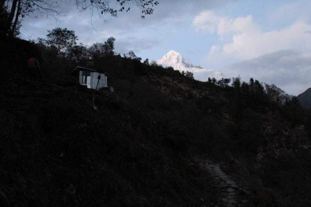 First view of Annapurna South near Ghandruk