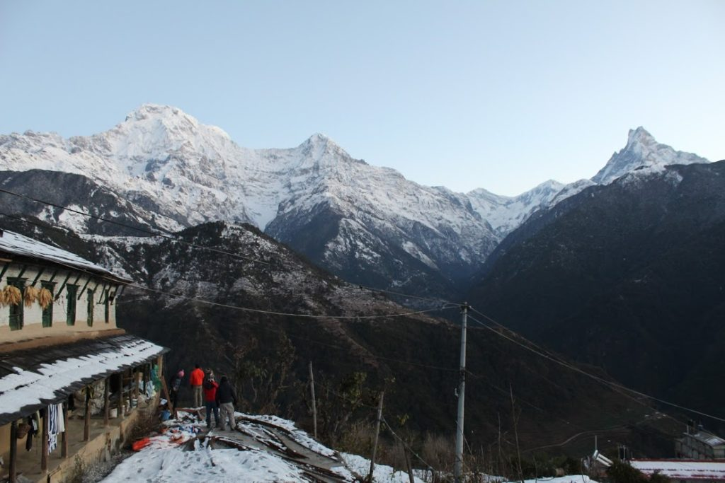 Morning view of Annapurna South and Machapuchre from our teahouse at Ghandruk